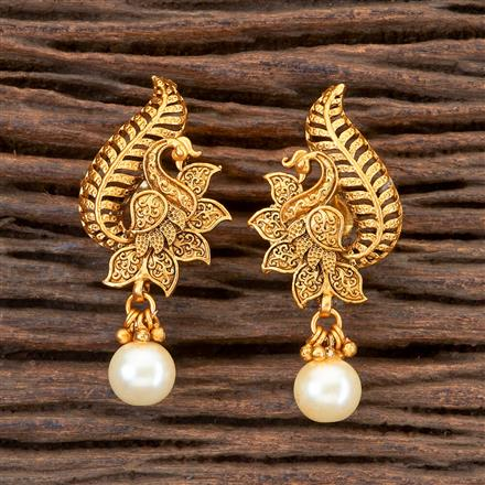 201775 Antique South Indian Earring With Matte Gold Plating