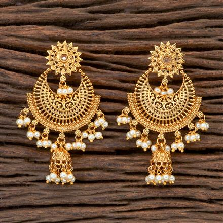 201803 Antique Chand Earring With Gold Plating