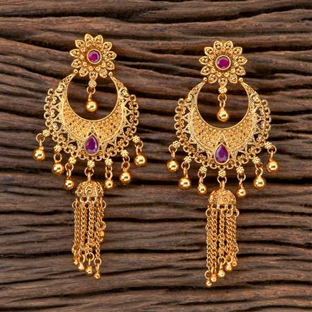 201804 Antique Chand Earring With Gold Plating