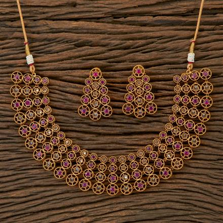 201811 Antique Stiff Necklace With Gold Plating