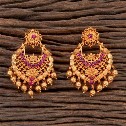 201818 Antique Peacock Earring With Matte Gold Plating