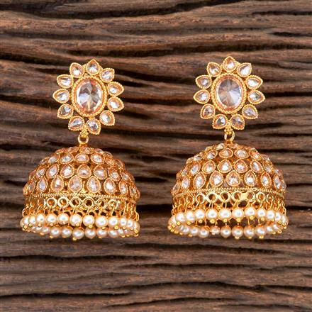 201824 Antique Jhumkis With Gold Plating