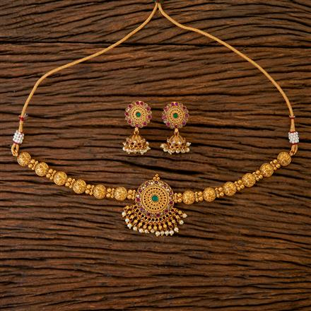 201827 Antique Choker Necklace With Gold Plating