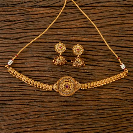 201828 Antique Choker Necklace With Gold Plating