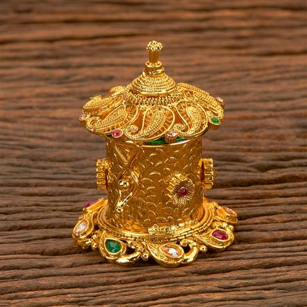 201917 Antique Classic Sindoor Box With Gold Plating
