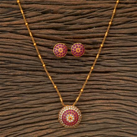 201977 Antique South Indian Pendant Set With Matte Gold Plating