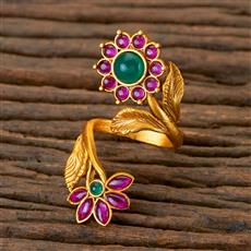 201980 Antique Classic Ring With Matte Gold Plating