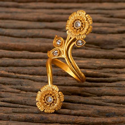 201983 Antique Classic Ring With Matte Gold Plating