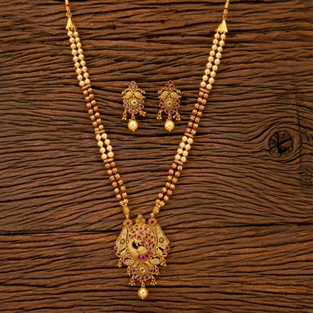 201988 Antique Peacock Pendant Set With Gold Plating