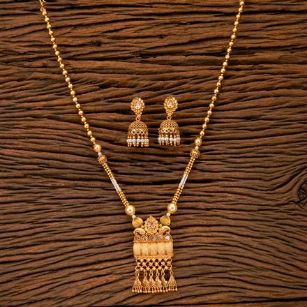 202055 Antique Mala Pendant Set With Matte Gold Plating