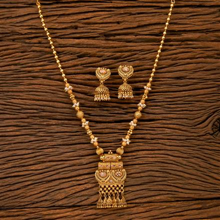 202056 Antique South Indian Pendant Set With Matte Gold Plating