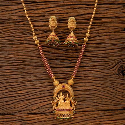 202057 Antique Temple Pendant Set With Matte Gold Plating