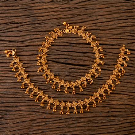 202088 Antique South Indian Payal With Matte Gold Plating