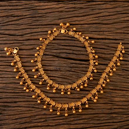 202090 Antique South Indian Payal With Matte Gold Plating