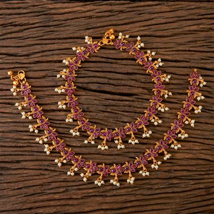 202091 Antique South Indian Payal With Matte Gold Plating