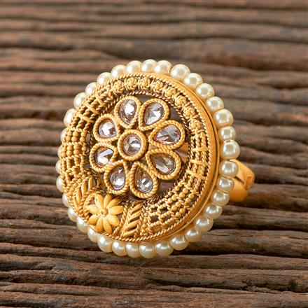 202164 Antique Classic Ring With Matte Gold Plating