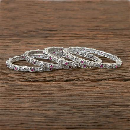 202286 Antique Delicate Bangles with Matte Rhodium Plating