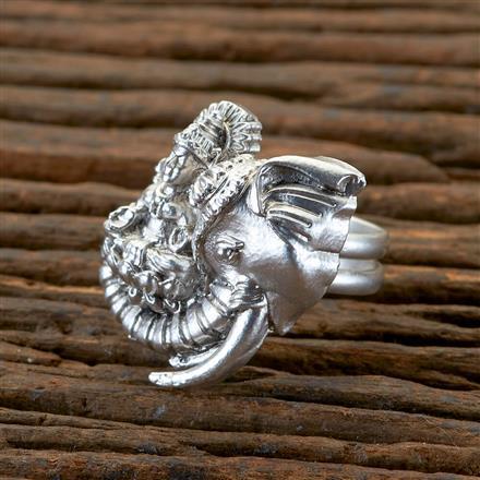 202344 Antique Temple Ring with Matte Rhodium Plating
