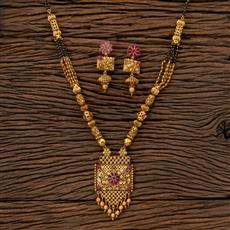 202384 Antique South Indian Mangalsutra with Matte Gold Plating