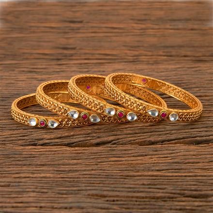 202394 Antique South Indian Bangles With Matte Gold Plating