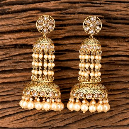 202396 Antique South Indian Earring With Matte Gold Plating