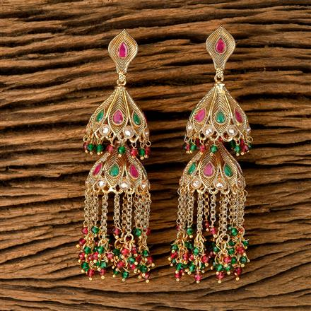202397 Antique Jhumkis with Gold Plating