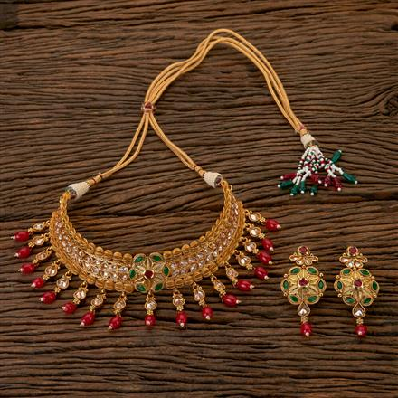 202400 Antique Mukut Necklace with Gold Plating