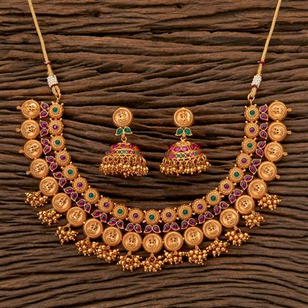 202403 Antique South Indian Necklace With Matte Gold Plating