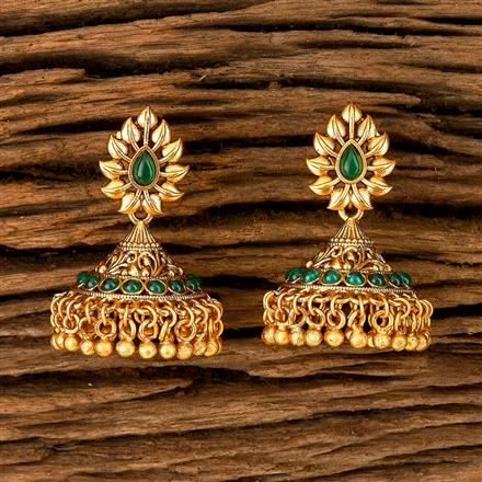 202407 Antique South Indian Earring With Matte Gold Plating