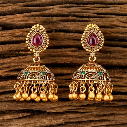202410 Antique South Indian Earring With Matte Gold Plating