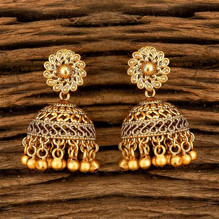 202413 Antique South Indian Earring With Matte Gold Plating