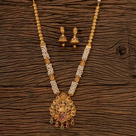 202418 Antique South Indian Necklace With Gold Plating