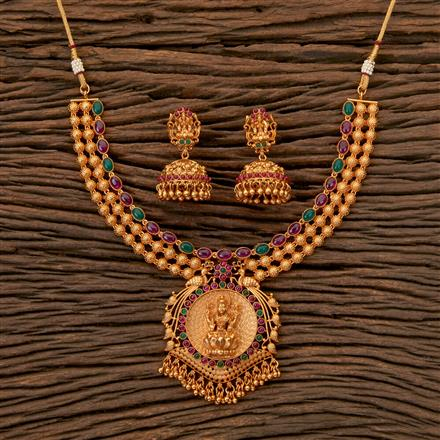 202450 Antique Temple Necklace with Matte Gold Plating