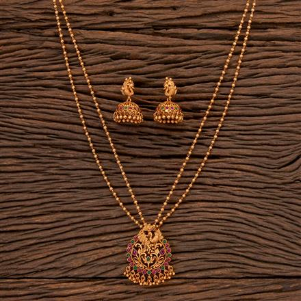 202452 Antique South Indian Pendant Set With Matte Gold Plating