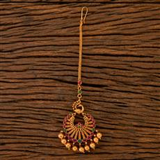 202454 Antique South Indian Tikka With Matte Gold Plating