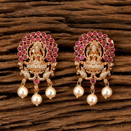 202455 Antique Temple Earring with Matte Gold Plating