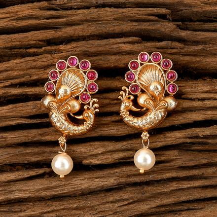 202459 Antique South Indian Earring With Matte Gold Plating