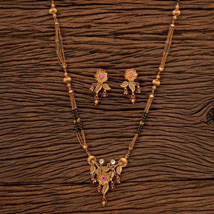 202483 Antique Classic Mangalsutra with Matte Gold Plating