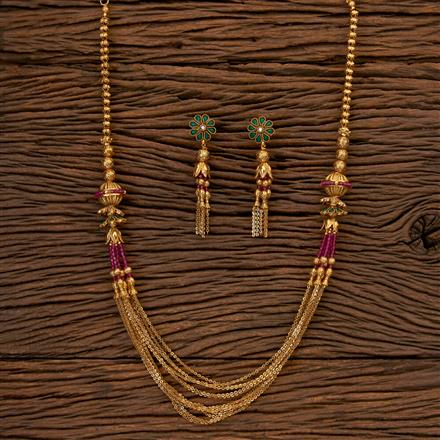 202522 Antique Mala Necklace with Matte Gold Plating