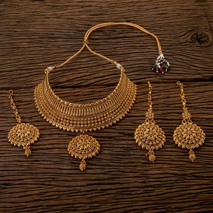 202531 Antique Choker Necklace with Gold Plating