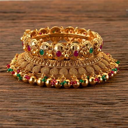 202566 Antique South Indian Bangles With Matte Gold Plating
