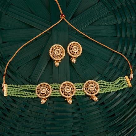 202608 Antique Choker Necklace With Gold Plating
