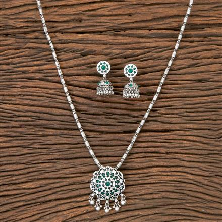 202635 Antique Delicate Pendant set with Matte Rhodium Plating