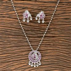 202669 Antique Delicate Pendant set with Matte Rhodium Plating