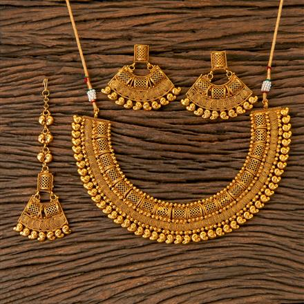 202763 Antique Plain Necklace with Gold Plating