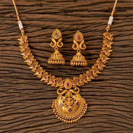 202776 Antique Temple Necklace with Matte Gold Plating