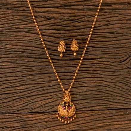 202798 Antique Peacock Pendant set with Matte Gold Plating