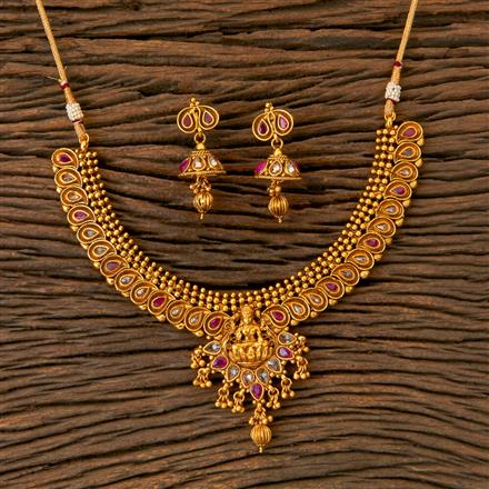202818 Antique Temple Necklace with Matte Gold Plating