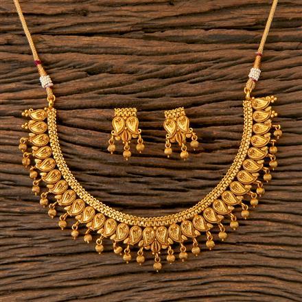 202819 Antique Plain Necklace with Matte Gold Plating