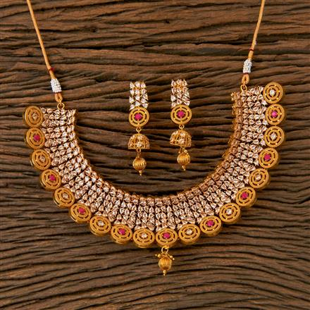 202832 Antique Mukut Necklace with Gold Plating
